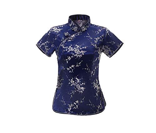 ACVIP Damen Pflaumenblüte Qipao Oberteile Stehkragen Kurzarm Chinesische Bluse Top(China 2XL/EU 42,Königsblau)