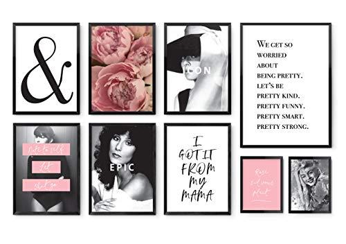 Rosé & Black 9er Poster Set versch.Größen: 13x18, A4, A3. MARELLE Bild Spruch Geschenk Gallery Wall Set9500 - Bild Rosa Rosen