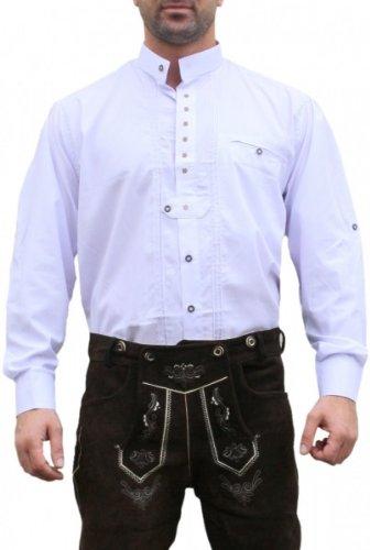 Trachtenhemd Hemd f�r Trachten Lederhosen edelwei� bestickt Wei�, Hemdgr��e:L