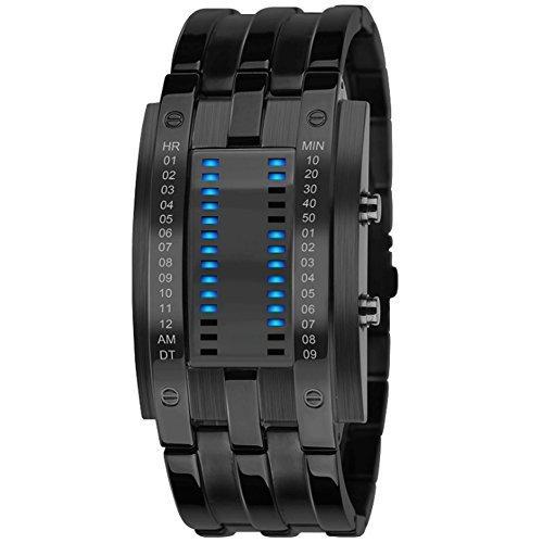 bluevega-montre-a-led-etanche-pour-homme-carre-samourai-bracelet-acier-a-noir