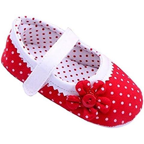 Zapatos de bebé,Xinantime Zapatos de las muchachas del verano Flor cuero de la PU (L, Rojo)