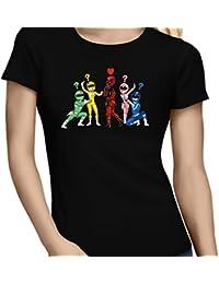 T-Shirt Comics - Parodie Deadpool et Power Rangers - Force rouge :) (Version Spéciale avec force Verte) - T-shirt Femme Noir - Haute Qualité (889)