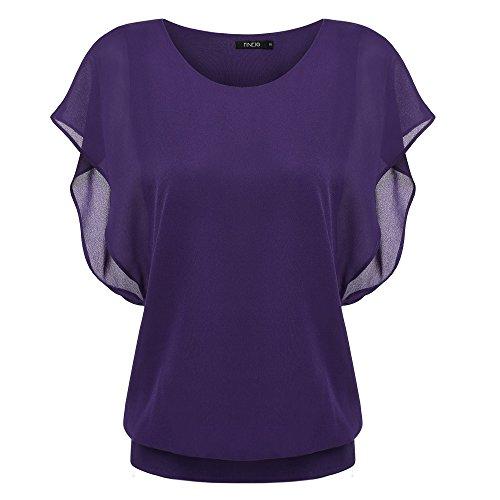 Zeagoo Damen Sommer Casual Loose Fit Kurzarm Fledermaus Batwing T-Shirt Shirt Chiffon Top Bluse, EU 42(Herstellergröße:XL), Lila