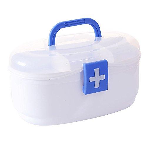 """Organisateur de boîte de rangement de médecine portative de Baffect avec des compartiments 9.5 """"X5.5"""" X5.3 """"médecine boîte voyage blanc"""