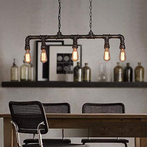 Pipe Pendelleuchte (DEJ Vintage Leuchte Pendent Lampe Metall Eisen Indoor Dekorative Deckenbeleuchtung Hängelampe Kreative Retro Pipe 5X E27 Lampe Pendelleuchte für Hotel Speisesaal Bar)