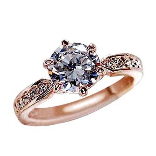 Schmuck Damen Ring,Dragon868 Kristall Rose Gold sechs Prong Diamond Ring Trauringe Verlobung Geschenke (7, - Mode-verlobungsringe