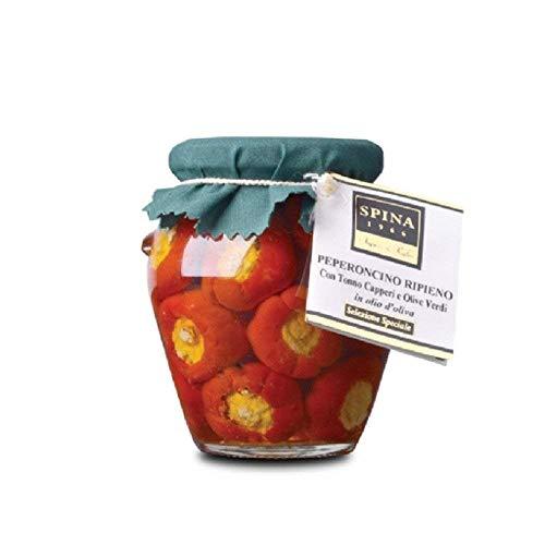 TYPISCHE APULISCHE PRODUKTE   Chili gefüllt mit Thunfisch, Oliven und Kapern in Öl   280 gr (Thunfisch-oliven-öl)