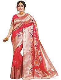 Tulip Fashion Baumwolle Seide Red Festival tragen Woven Traditionelle Saree
