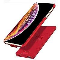 غطاء حافظة حماية وبطارية احتياطية لاسلكية 4,000 ملي أمبير للآيفون X/XS مع USB بنك الطاقة المغناطيسي شاحن متنقل لشحن الجوالات والأجهزة الرقمية الأخرى، أسود رمادي