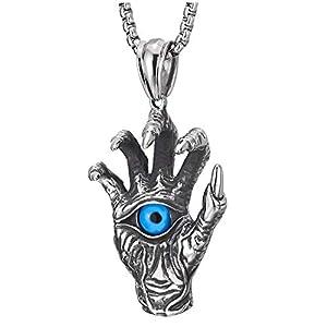 COOLSTEELANDBEYOND Gotik Edelstahl Herren Vintage Skelett Hand Spitzte Klaue Blau Bösen Blick Halskette Anhänger, 75cm Stahl Weizen-Kette