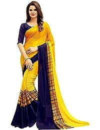 Navya Fashion Women's Chiffon Saree with Blouse Piece (Multicolour)