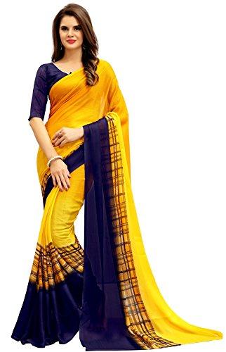 Navya Women's Chiffon Saree With Blouse Piece (Nav322_Multi-Coloured)