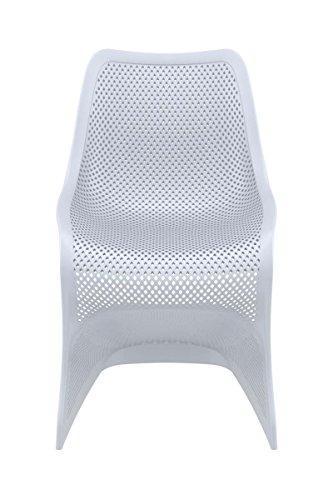 CLP Design Kunststoff-Stuhl BLOOM, XXL Gartenstuhl, Freischwinger Stuhl belastbar bis 160 kg Hellgrau - 2