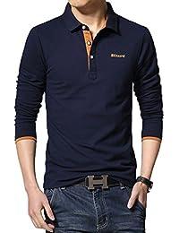 WSLCN Homme Coton Polo Shirt Sans Poche T-shirt Manches Longues