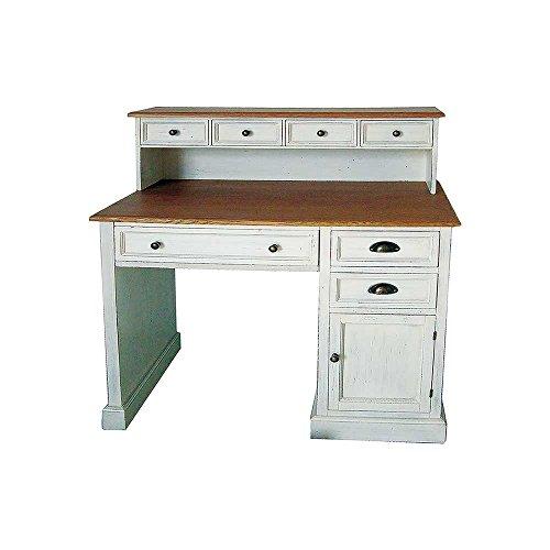 Pharao24 Shabby Schreibtisch mit Aufsatz Weiß