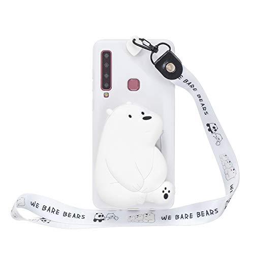 Miagon Silikon Hülle für Samsung Galaxy A9 2018,3D Süß Brieftasche Lager Tasche Design mit Halskette Kordel Schnur Handykette Necklace Band,Weiß Bär
