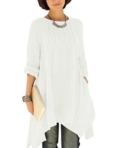 BIUBIU Damen Vintage Langarm Loose Kleid Boho Taschen Asymmetrisch Kleider DE 34-46 Weiß DE 34 (Elegante Momente, Mini-kleid)