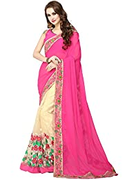 Panchratna Women's Embroidered Pink And Beach Half And Half Georgette Saree With Blouse Material