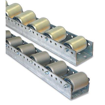Torwegge 1 Meter Palettenrollschiene, verzinkt, Profil zweireihig, 3 mm stark, Rolle Durchm. 50 mm, Traglast 150 kg, Bauhöhe 67 mm, Achsabstand 104 mm