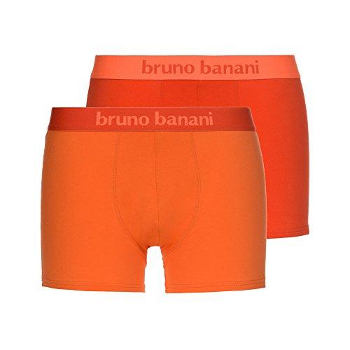 bruno banani Herren Shorts 2er Pack Flowing, 2er Pack, Mehrfarbig (Rotorange// Orange 2311), Large