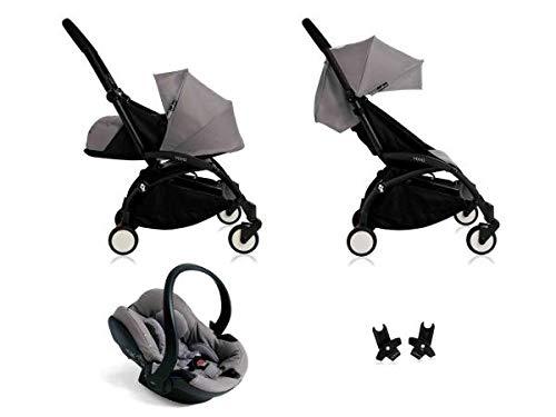 Poussette Yoyo+ complète cadre noir habillages 0+ et 6+ gris et siège auto iZi Go Modular gris
