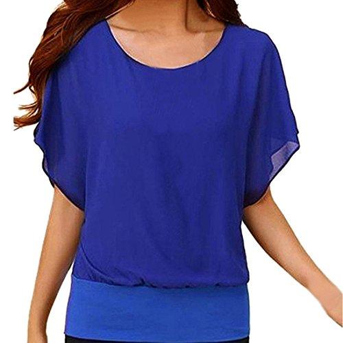 ue Damen Rundhals Falten T-Shirt Beliebt Ärmellos Stretch Tunika Top(XXXXXL,Blau) (Klassische 90er Jahre Kostüme)
