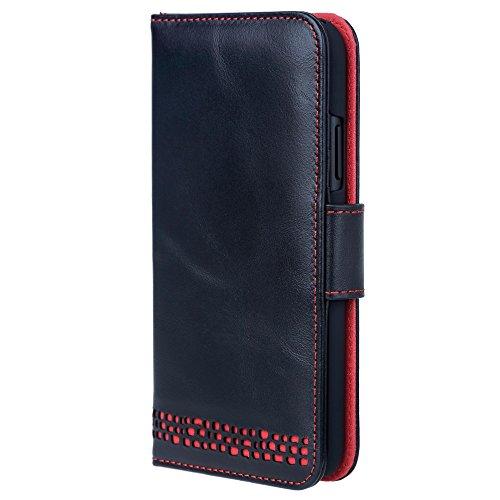 Ed Hicks iPhone XR Echt Ledertasche Hülle - Luxus Kartenfach und Brieftasche Case - Stoppt Kartenkorruption - Ideal für Rechtshänder- Der RILA Vintage Schwarz und Rot