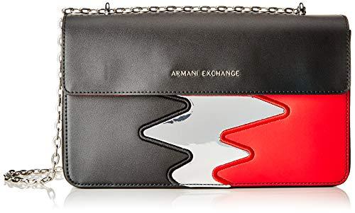 Armani Exchange Damen Zig Zag Wide Crossbody Umhängetasche, Schwarz (Nero), 16.5x7.0x28.0 cm