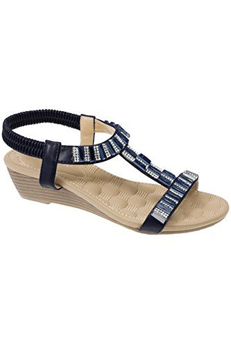 jlh877-reynolds-ladies-jewell-diamante-t-strap-elasticated-wedge-sandals-navy-uk-5