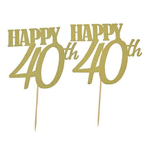 YNuth Happy 40th Birthday Glitter Cake Toppers For Party Decoration Pack Of 2pcs