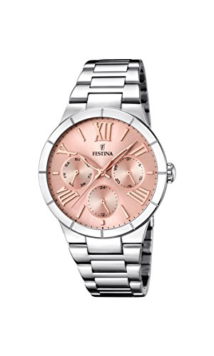 Festina Women's Quartz Watch with Rose Gold Dial Analogue Display and Silver Stainless Steel Bracelet F16716/3