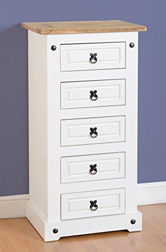 Weiße Holz-eitelkeit-set (Corona Schmale Kommode mit 5Schubladen in weiß/Kiefer, gewachst)