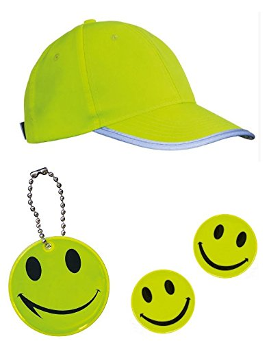 Kleines Set, bestehend aus: 1 x Sicherheits – Kappe + 2 x Sicherheitsaufkleber SMILE + 1 x Sicherheitsanhänger für Schulranzen / Taschen usw – reflektierend – signalgelb