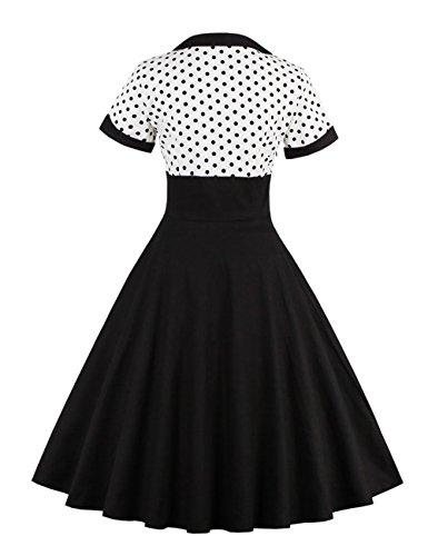 VKStar® Vintage 1950s Cocktailkleid Kurzarm Abendkleid mit Punkte Rockabilly Swing Kleid Weiß