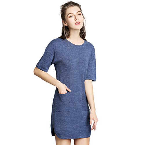 Playach Casual in Cotone a Maniche Lunga da Donna Playach Lunga Allentata Tops Shirt Blouse Vestitino PD16 (M/L, Denim Blue)