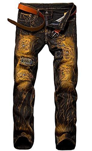 Herren Jeanshose Biker Destroyed Look Stretch Herrenmode Vintage Jeans Hose Denim Hig Ripped Jeanshosen Freizeithose (Color : 9890Gelb, Size : 29/30L) -