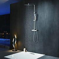 Elbe Colonne de douche avec douche de tête carrée Colonne de douche thermostatique avec douche à main Colonne de douche hydromassante Ensemble de douche Système de douche_RNS-C06