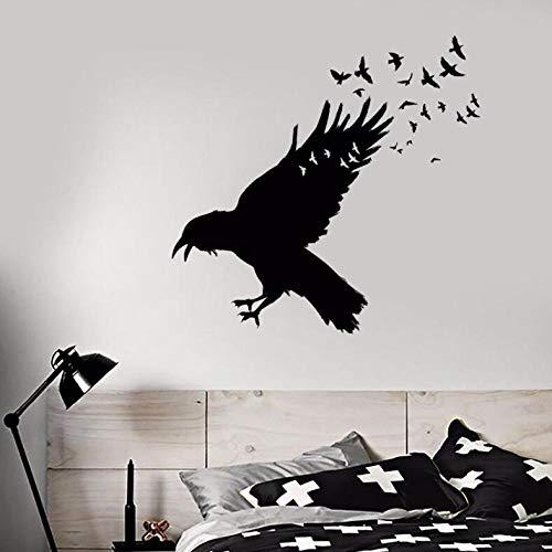 Wandtattoo Schwarzer Rabe Vogelschwarm Wandaufkleber Gotik Wohnkultur Vögel Tier Wandaufkleber Dekor 57 × 55cm - 3-tier-wand Bad