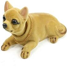 Sourcingmap Cabeza Oscilante Perro Forma Ornamento para Coche Café Marrón 14cm