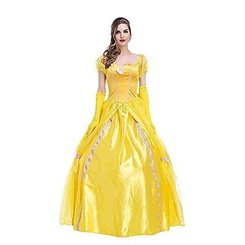 Prinzessin Kostüm Damenkostüm für Karneval Fasching Verkleidung mit Handschuhe (Belle Von Schöne Und Das Biest Kostüm Für Erwachsene)