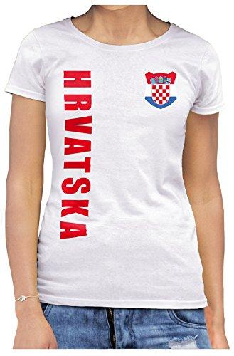 AkyTEX Kroatien Hrvatska Damen Trikot Fanshirt T-Shirt WM 2018 Name Nummer (Weiß, S)