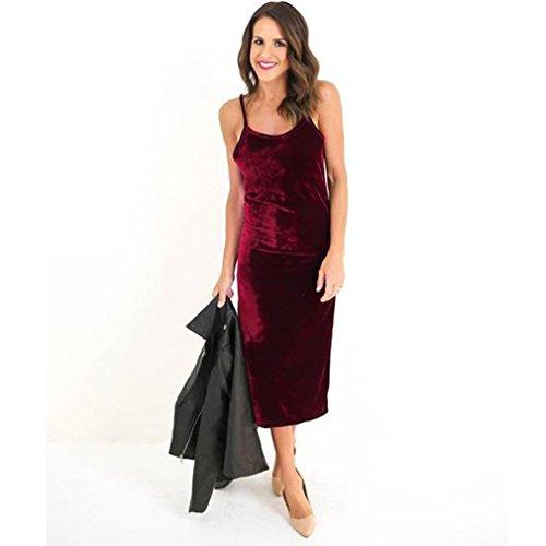 Koly_Abito lungo delle donne senza maniche Velvet Dress Casual Rosso
