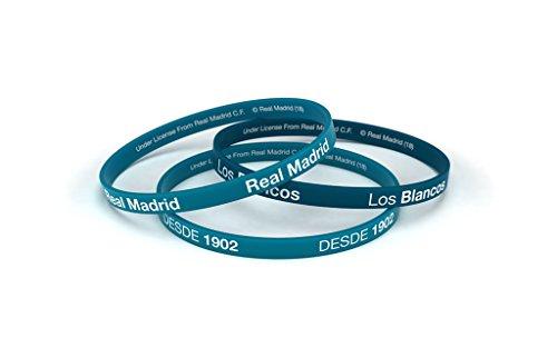 Armband Real Madrid Fußball-Club Classic blau türkis Junior für Damen und Kinder, Silikon-Armband, Offizielles Lizenzprodukt -