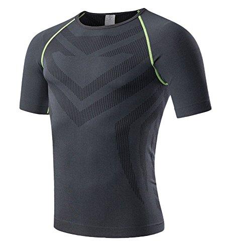 Icegrey da uomo Cool Dry Compression Baselayer manica corta magliette, Uomo, Black/Green Line, XL