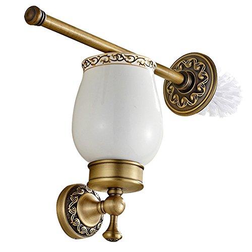 CASEWIND Toilettenbürstenhalter mit Bürste und Keramik Becher, alle Messing Konstruktion Wandhalterung Wand Europäisch Antik Retro Stil, Toiletten Set