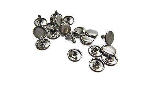 Wedding Decor Lot de 100 rivets double calotte pour artisanat, réparation de chaussures sacs habits et cuir , Métal, Gris acier, 10 mm