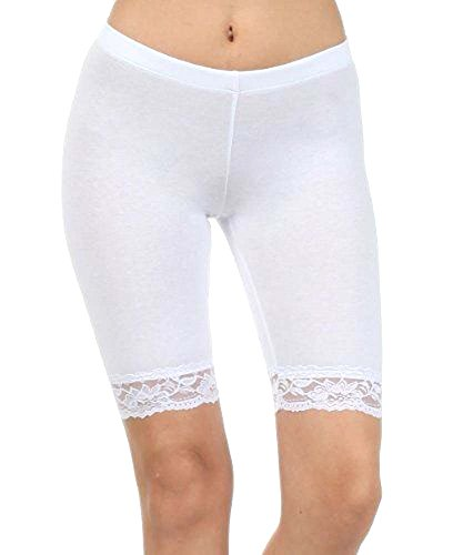 elegance1234 Damen Baumwoll-Lycra-Stretch (ref: 2195 geschnürt) trimmen oberhalb des Knies Radhose aktiv Legging mit Spitze (xx-große(xx-Large), weiß(white))