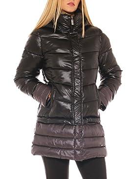 Giaccone lungo donna in nylon trapuntato con cappuccio