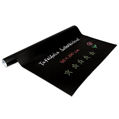 Tafelfolie selbstklebend - Kreidetafel Folie Tafelsticker in schwarz leicht abwischbar 60x200cm, Aufkleber Wandfolie zum Beschriften für Zuhause, Schule und Büro