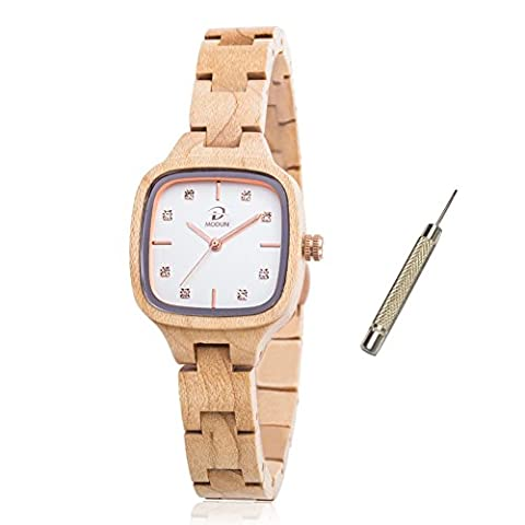Natural Maple Wood Watch for Women, Diamonds Gold Rectangle Beige Watch Face with Adjustable Wooden Bracelet (Maple Wood)